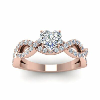 1 Carat Heart Shaped Infinity Pave Diamond Womens Engagement Ring GIA Certified 1