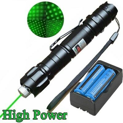 High Power 50Mile 532nm Green Laser Pointer Pen Star Cap Bright +18650 +Charger