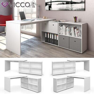Sekretär Schreibtisch (VICCO Eckschreibtisch FLEXPLUS Weiß - Computer Bürotisch PC Schreibtisch)