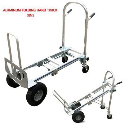 Aluminum Hand Truck Folding Hand Truck Utility Cart Heavy Duty Flat Free Wheel