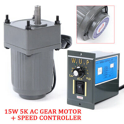 Electric Ac Gear Motor Gearbox W Variable Speed Controller 110v 15w Reversible