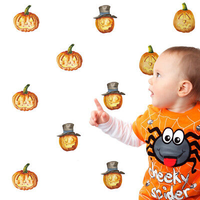 24 Aufkleber Kürbis Halloween DIY Wandtattoo Sticker Tattoo Set Deko