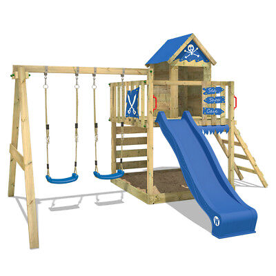 WICKEY Spielturm Kletterturm Smart Cave Doppelschaukel Garten Spielhaus Rutsche