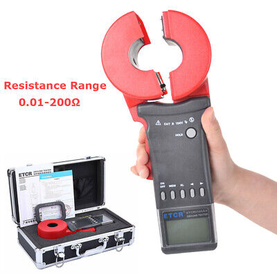 Etcr2100a Lcd Digital Clamp On Earth Ground Resistance Tester Meter 0.01-200
