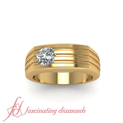 1/4 Carat Round Cut Diamond Solitaire Engagement Ring For Men In 18K Yellow Gold 1