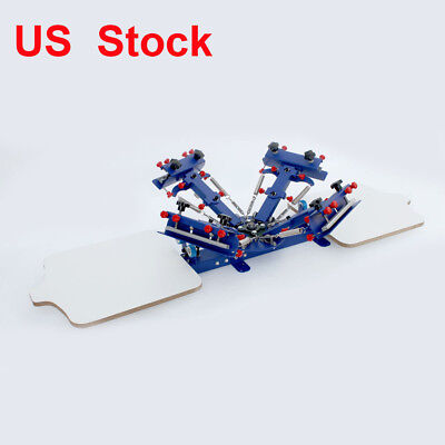 Micro Registration 4 Color 2 Station Screen Printing Equipment Silk Screen Press