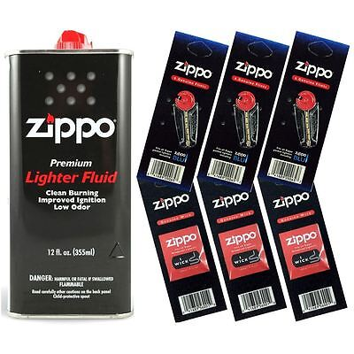Zippo Lighter Fluid Fuel 12oz & 6 Value Pack (18 Flints + 3 Wick) Gift Set Combo