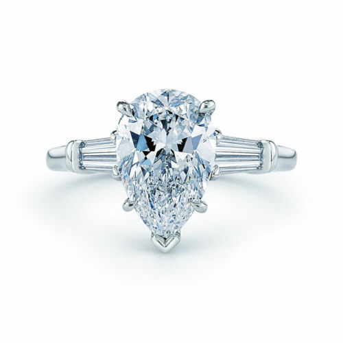GIA Certified Pear Shape Diamond Engagement Ring Platinum 1.40 CTW