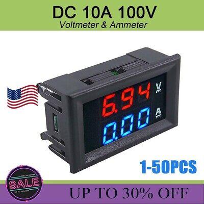 Dc 100v 10a Dual Digital Voltage Meter Gauge Voltmeter Ammeter Blue Red Led Amp