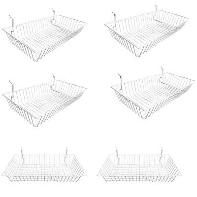 Set Of 6 Pc White Metal Wire Slatwall Gridwall Pegboard Shallow Basket Display