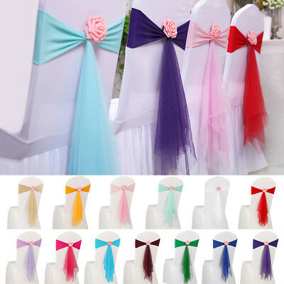 - 10/20x Spandex Stretch Wedding Party Chair Cover Band Bow Sashes w/ Flower Decor