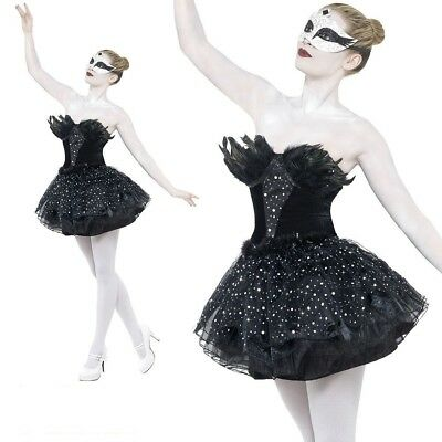 Black Swan Costume Gothic Masquerade Fancy Dress Womens Halloween Outfit S-L (Black Swan Halloween Outfit)