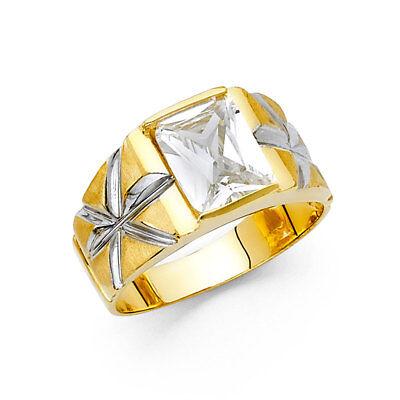 Men 14k Yellow White Real Gold  Cushion Big CZ Fashion Wedding Ring Band