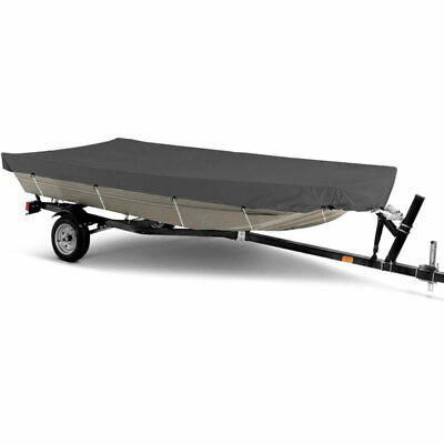 Heavy-Duty Jon Boat Cover- 12ft 13ft 14ft L - All Weather Protection, Grey