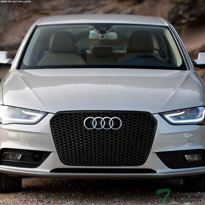 Topline For 2013-2016 Audi A4 RS Honeycomb Mesh Front Hood Bumper Grille - Black
