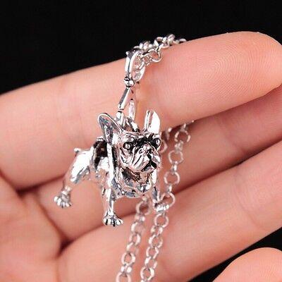 (Puppy Boho Vintage Fine Pendant Fashion Necklace French Bulldog Jewelry Women)