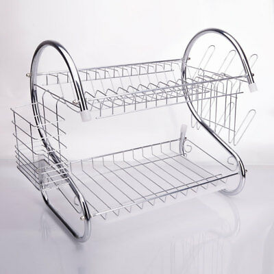 2 Tiers Kitchen Dish Cup Drying Rack Drainer Dryer  Cultery Holder Organizer US