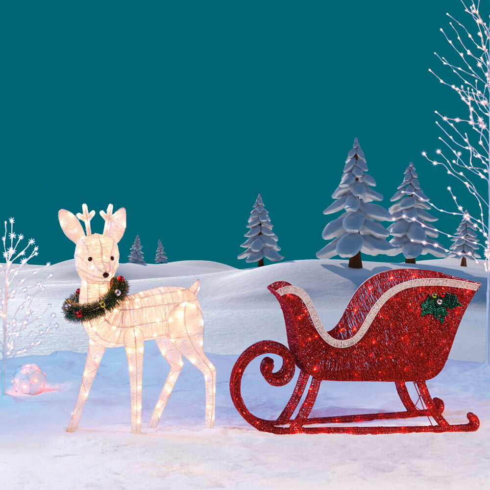 Reindeer Amp Sleigh 260 Led Lights Indoor Outdoor Garden