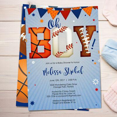 - Sports Baby Shower Invitations / Boy Baby Shower Invites / Sports All Star Theme