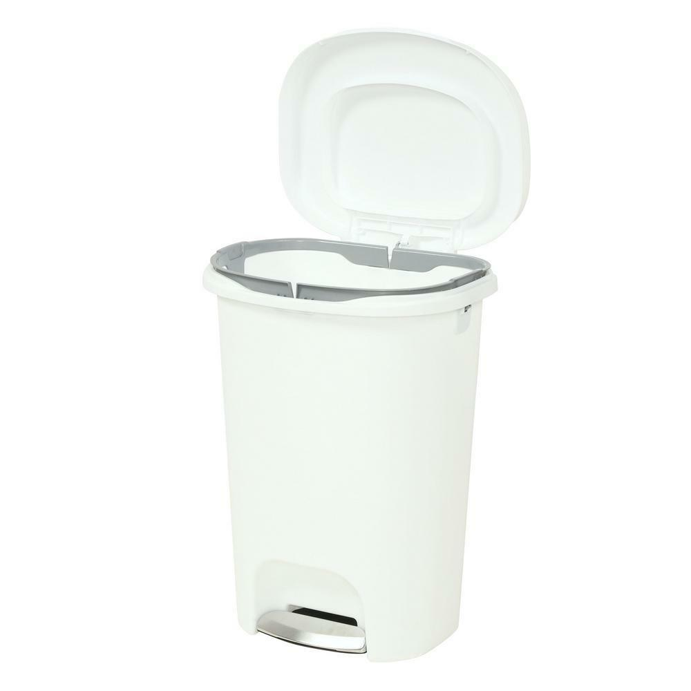 Step On Plastic Trash Can 13 Gal Rubbermaid Kitchen Waste Basket Garbage Bin