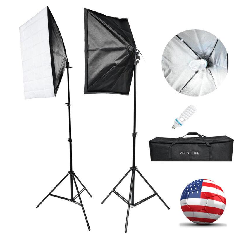 135W Photo Studio Photography Lighting Softbox Light Stand Set W/Storage Bag