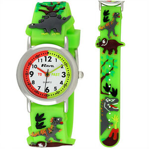 Ravel Dinosaur 3D Kids Green Time Teacher Quartz Watch R1513.59