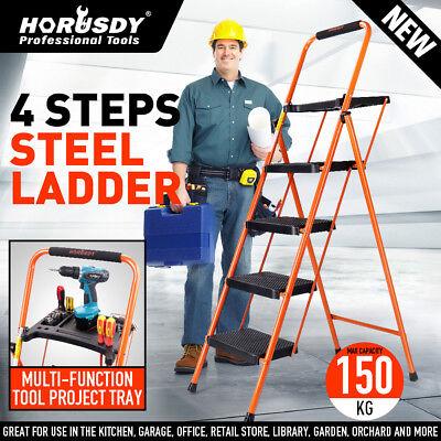 Folding 4 Step Ladder Wide Platform Lightweight Steel Tool Tray Non-slip 330 Lbs