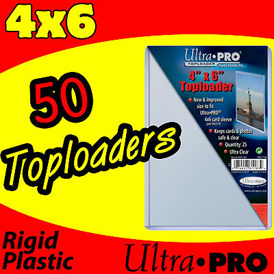 50 ULTRA PRO 4x6 HARD RIGID TOP LOAD TOPLOADER POSTCARD PHOTO HOLDER SLEEVES