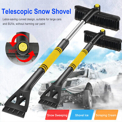 Snow Remove Frost Broom Ice Scraper With Brush 360°Adjustable For Car Windshield