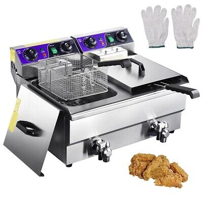 23.4l Deep Fryer W Timer Drain Fast Food French Frys Electric Cooker
