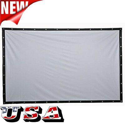60 100 120  Canvas Portable Home Theater Projector Screen Curtains Movie Film Us