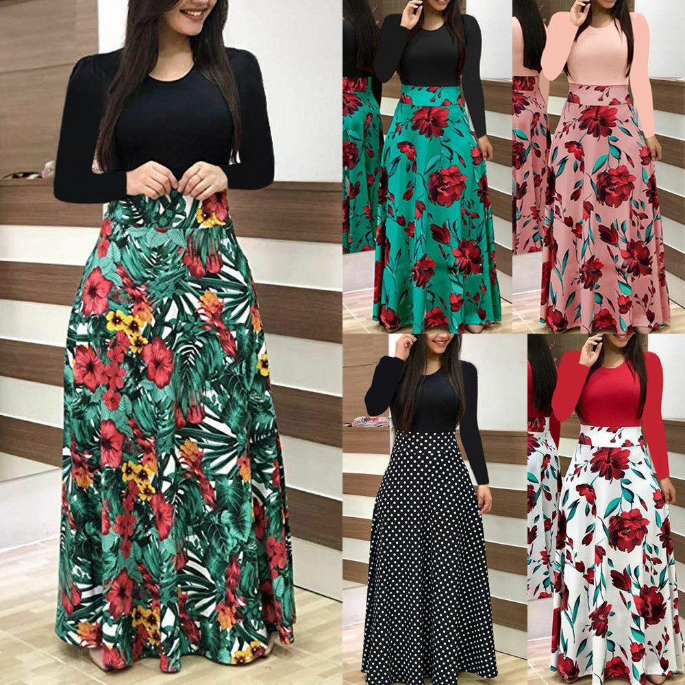 Women Floral Maxi Dress Prom Evening Party Beach Long Sundress Casual Summer