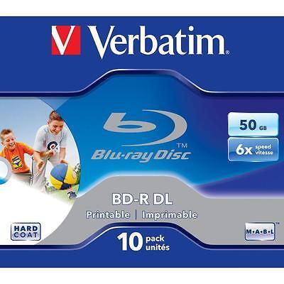 10x Verbatim BD-R DL Rohlinge 50GB 6x Schreiben bedruckbar Blu-ray Dual Layer