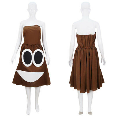 Funny Costumes Women (Women's Brown Dress for Cosplay Poop Poo Funny Emoji Emoticon Costume HC-1065)