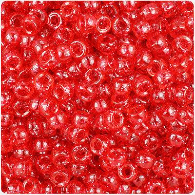 1000 Ruby Red Sparkle 7mm Mini Barrel Plastic Pony Beads Made in the USA](Red Plastic Beads)