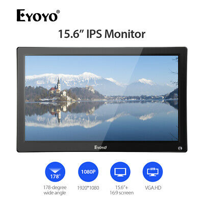 "15.6"" IPS HDMI Monitor HD 1920x1080 AV/VGA/BNC/USB Input For Rear View Camera"