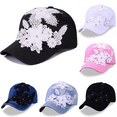 Applique Cap (unisex Women cowboy Adjustable Embroider applique Baseball Cap With drill Hat)