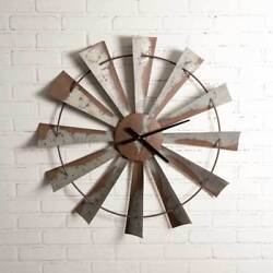 Farmhouse WINDMILL WALL CLOCK Country Rustic Vintage Primitive Distressed