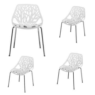 Set of 4 Black Mid Century Dining Office Living Room Side Chairs White Color