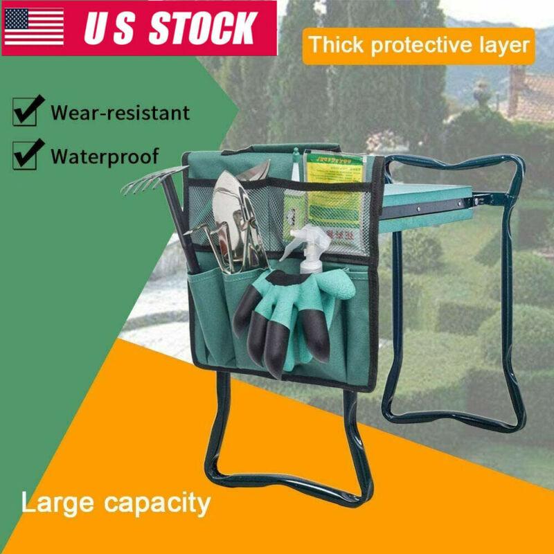 Foam Padded Garden Portable Folding Knee Pad Kneeler Seat Bag Stool Tool Bags US