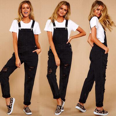 Damen Ripped Jeans Hosen Latzjeans Latzhose Overall Skinny Jumpsuit Träger Latz ()