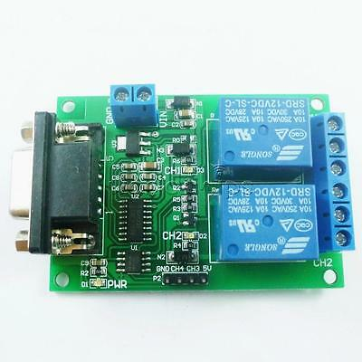 Rs232 Relay Module 2-channel Serial Port Db9 Interface Low Level Output 12v 10a