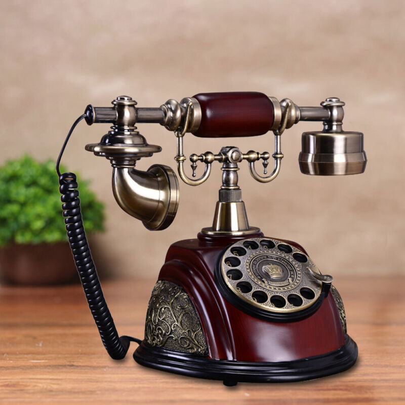 Vintage Antique Old Fashioned Rotary Dial Phone Handset Desk Telephone Ceramic