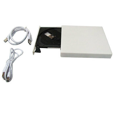 Durable Slim USB External CD-ROM Drive CD-R CD-RW for Desktop Notebook White US