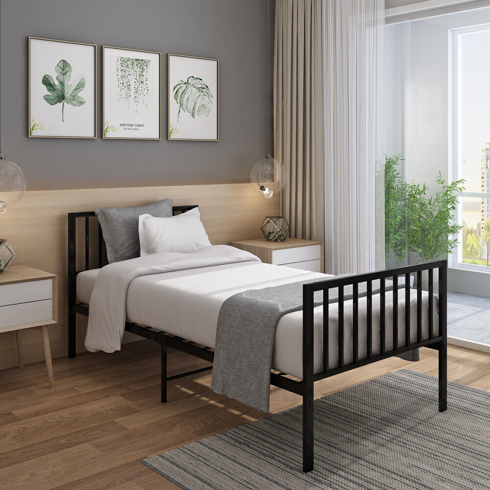 Black 4ft Small Double Metal Bed with Coil Spring Mattress ...