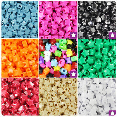 BeadTin Opaque 13mm Star Pony Beads (250pcs) - Color choice](Plastic Star Beads)