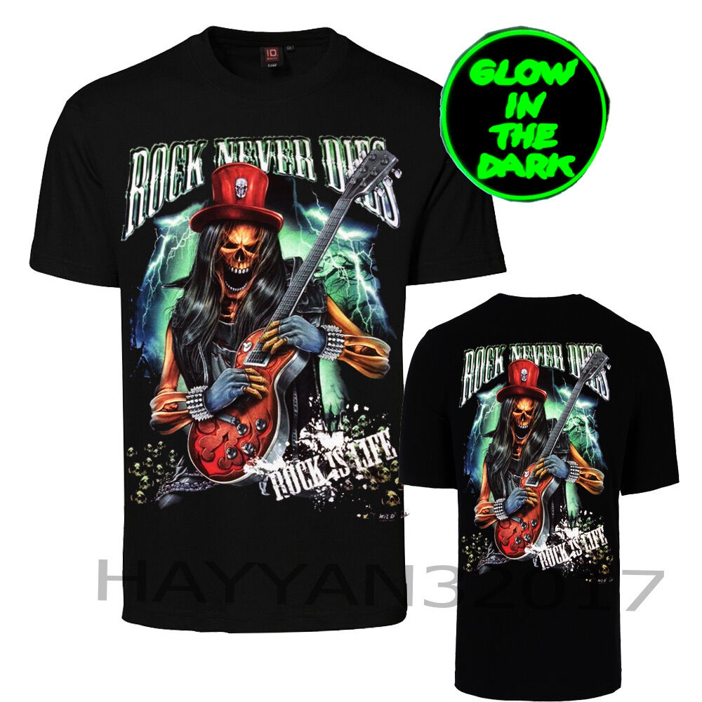 e4f38ca207a30 Details about Men-T-Shirt Rock Never DIes Grim reaper With Guitar Glow In  Dark Both Side Print