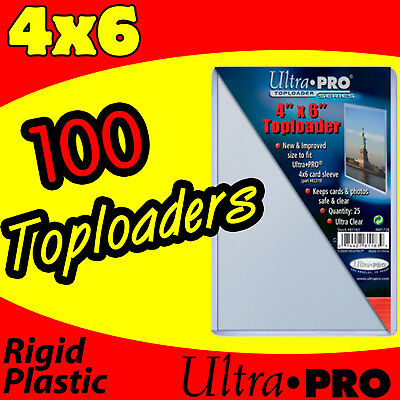100 ULTRA PRO 4x6 RIGID HARD PLASTIC TOP LOAD TOPLOADER POSTCARD PHOTO HOLDER