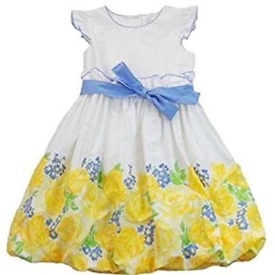Maggie & Zoe Kinder Mädchen Sommer Kleid Weiß Hellblau mit gelben Blumen 110
