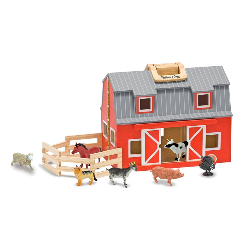 Melissa Unisex and Doug Wooden Fold Go Barn Set No Color One